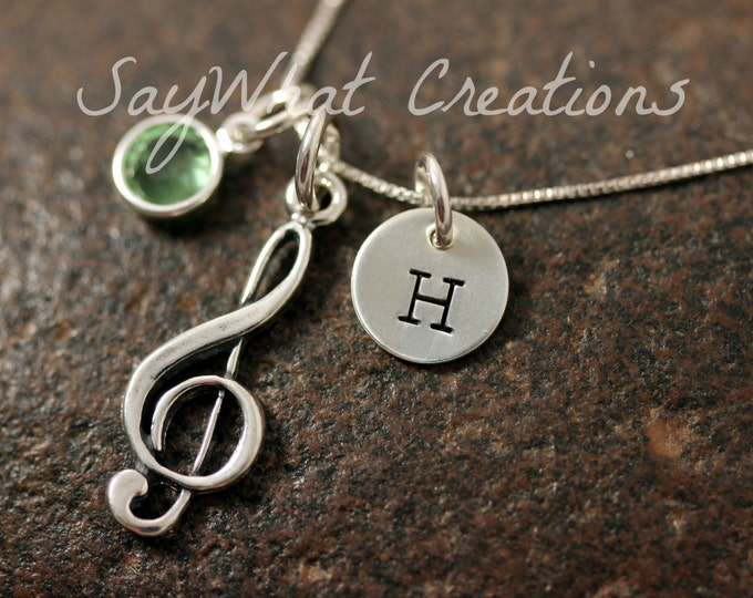 Sterling Silver Treble Clef Music Note Charm Necklace with Mini Hand Stamped Initial and Birthstone