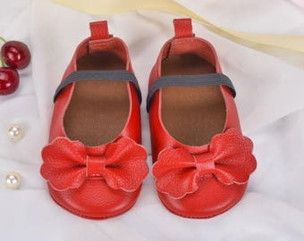 Metallic Red Bow Moccasins, Baby Moccs, Bow Moccs, Baby/Toddler Shoes, Genuine Leather, Red, Moccs, Moccasins, Baby Moccasins, Leather Shoes