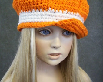 Crochet  Newsboy Cap,TN Orange,Toddler Hats,Baseball Cap,Children's Accessories, Spring,Summer,