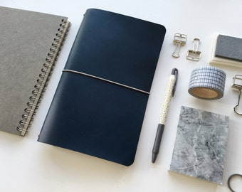 Indigo Blue - Buttero Leather Cover - Leather Journal // Midori Traveler's Notebook // Field Notes Cover // Moleskine Cover