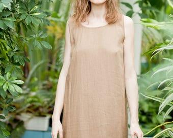 Women's linen dress, Ruffle dress, Brown dress, Simple dress, Casual dress, Bohemian dress, Cosy dress, Short dress, Summer dress