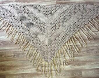 Beige wraps Shawl- knitted shawl