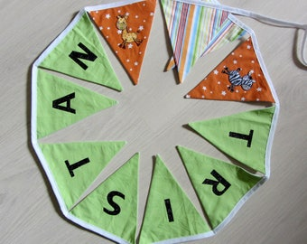 Bunting with a name to 8 letters * custom *.