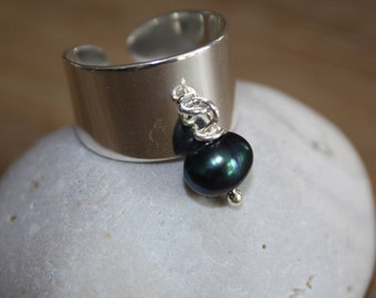 Cultured Pearl sterling silver plated ring