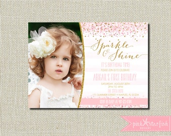 Sparkle and Shine Birthday Invitation, Pink and Gold Birthday Invitation, Birthday Invitation, Gold Glitter, Glam, Champagne, Blush, Digital