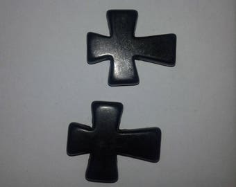 set of 2 beads believe howlite black 3.6 CM X 3 CM