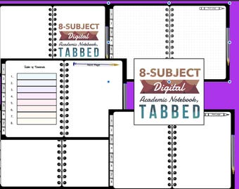 8-subject Academic Digital,Notebook, Tabbed, Black, for GoodNotes