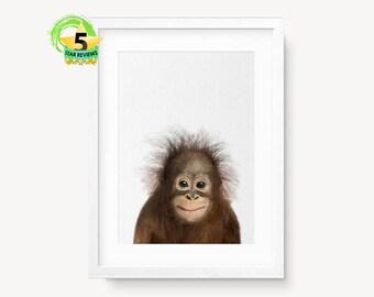 Orangutan Baby Print, Nursery Wall Art, Baby Animal, Safari Animal, Baby Shower Gift, Baby Monkey Print, Baby Animal Poster, Orangutan Photo