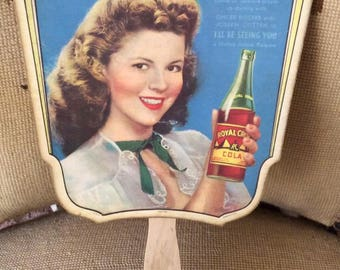 """Vintage 1940s Paper Fan Advertising Shirley Temples Movie """"I'll Be Seeing YOU"""" Joseph Cotten Ginger Rogers Royal Crown Soda Advertising"""