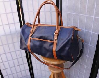 Blue & Cognac Leatherette Weekender Bag, Mod Style Duffel