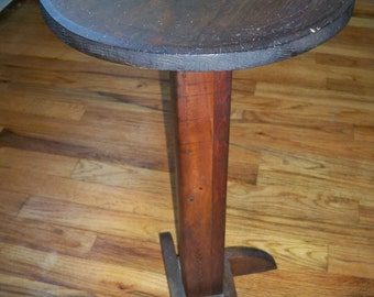 Vintage Home Made Wooden Pedestal Table