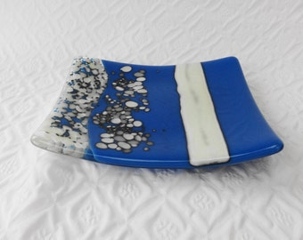 Blue and Vanilla Fused Glass Plate, Fused Glass Dish, Glass Candy Dish, Pillar Candle Holder, Trinket Tray, Spoon Rest, Reaction Plate