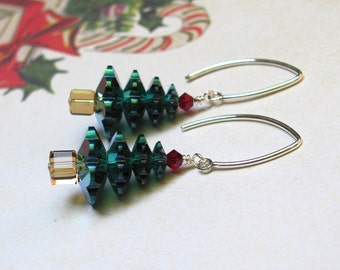 Christmas Tree Earrings, Holiday Earrings, Swarovski Earrings, Green Earrings, Red Earrings, Christmas Jewelry, Dangle Earrings