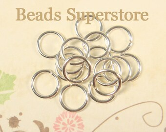 8 mm Silver-Plated Open Jump Ring - Nickel Free and Lead Free - 100 pcs