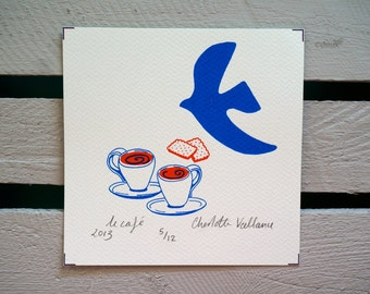 Paris inspired 'Le Cafe' Screen Print