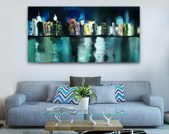 New York City skyline painting abstract city painting nyc skyline painting blue painting night city landscape painting manhattan painting