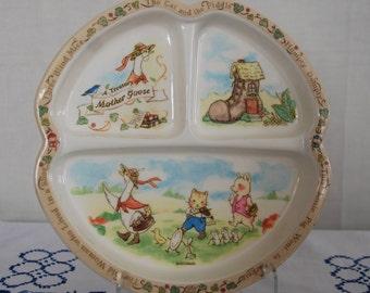 Vintage Mother Goose Melamine Divided Plate