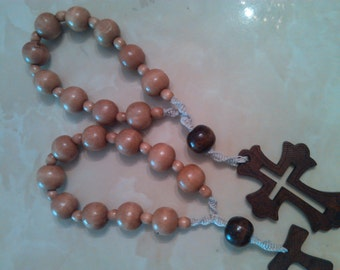 Handmade wooden chaplet made with 2 shades of brown wooden beads and natural hemp(.)
