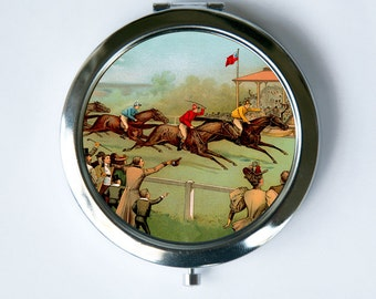 Victorian Horse Race Compact Mirror Pocket MIRROR vintage illustraion hipster