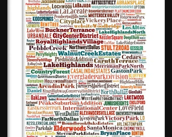Dallas Map - Typography Neighborhoods of Dallas Poster Print