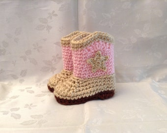 Baby Cowboy Booties Boots Pink and Tan Crochet Made to Order Baby Cowgirl Boots Baby Girl Booties Infant Booties Gender Reveal