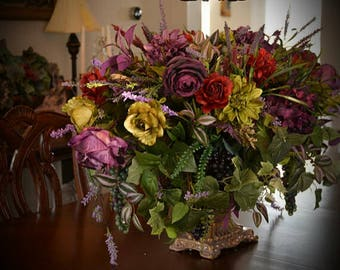 Floral Arrangement XL Centerpiece SHIPPING INCLUDED Elegant Luxury Tuscan Dining Room