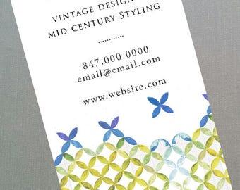 Mid Century Business Card, Modernist,Designer Textile Set of 50