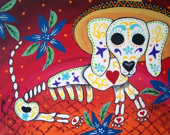 Mexican Folk Art Day of the Dead Dog Puppy DOD Collectible Art Deco Print Poster Art Ellison Choose your Size
