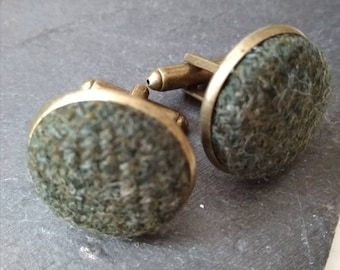 Green Tweed Cufflinks, country-style accessories, Unisex cufflinks, gift for him, gift for her, father's day gift, mens accessories