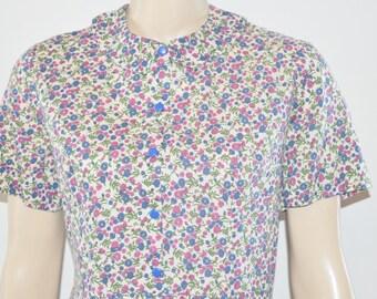 Vintage 60's Mod Mid Century Calico Flower Print Cotton Shift Dress Size Medium