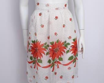 Poinsettia print holiday/christmas apron/50's apron