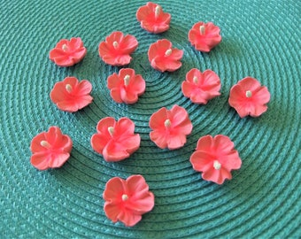 """Royal Icing Pink Hibiscus Flowers Size 1"""" ReAdY To Ship 18 PCS."""