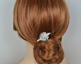 Vintage Style Filigree Bridal Rhinestone Hair Comb Swarovski Pearl - Ships in 1-3 Business Days