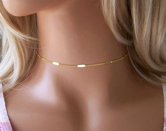 Gold Choker Necklace, Dainty Gold Necklace , Bar Curb Chain Choker, Layering Necklace, Custom Chain Choker, Dainty Gold Choker