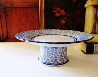 Blue and White Sweets Stand, Porcelain Compote, Tea Party Decor, Blue Basketweave Stand, Chinoiserie, Palm Beach Decor