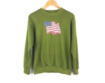 L.RICHEE Vintage United States of America Big Flag Sweatshirt Long Sleeve Medium Size
