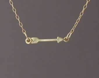 SMALL Sideways Arrow Necklace Gold Silver or Rose Gold
