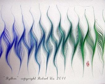 "Rhythm - Original Marbling Art, Hand Marbled Paper,The Original "" Marbled Graphics""TM by Robert Wu"
