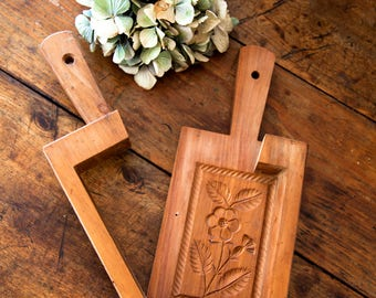 Vintage French Wood Butter Mold - Farmhouse or Country Kitchen - Free Shipping Within the USA