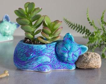 Kitty planter, modern turquoise planter ceramic succulent handmade pottery planter, velvet purple blue plant pot, cat lover gift gardening