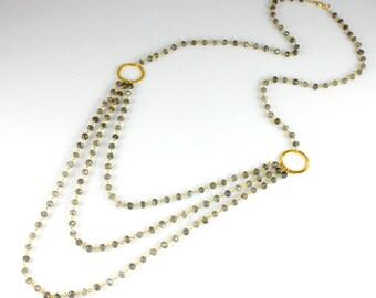 Triple Strand Labradorite Chain Necklace