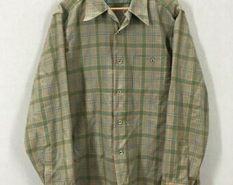 Vintage Pendleton Green Plaid Loop Collar Wool Button Down Shirt Size L USA