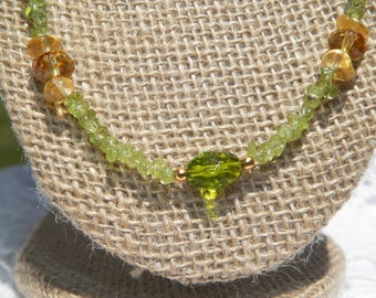 A Lovely Set: Peridot Necklace and Earring