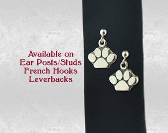 Pet Animal Paw Print Pair of Charm Earrings in Sterling Silver 925 Jewelry, Earring Studs, French Hooks or Leverback Choice