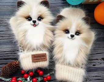 Winter mittens handmade with animals