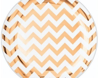 10x rose gold plates, dinner plates, plastic plates, rose gold chevron, gold foil plates, round plastic plates, gold paper plates, rose gold