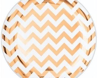 20x rose gold plates, picnic plates, plastic plates, rose gold chevron, gold foil plates, round plastic plates, gold paper plates, rose gold