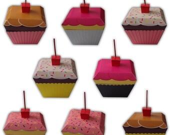 Cupcake Digital PDF Favor Gift Box Printable Color Template (custom colors available)