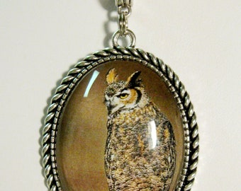 Great Horned Owl pendant with chain - WAP09-012