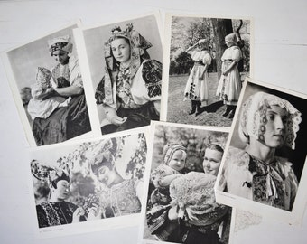 Vintage lot of Prints of People Black and white wall decor